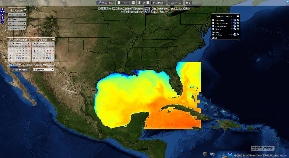 OWGIS used to display data of the Gulf of México for Deep-C